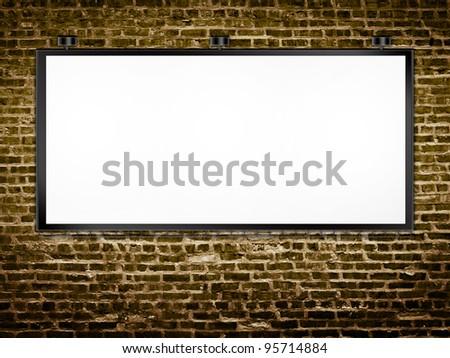 Billboard on Brick Wall - stock photo