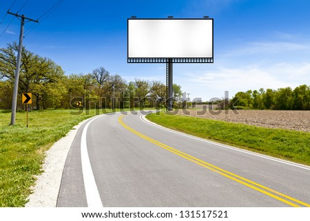 Billboard on Country Road - stock photo
