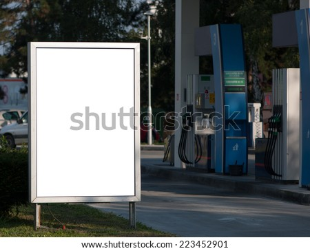 Billboard on gas station in Zagreb - stock photo