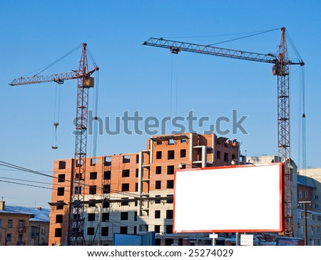 Billboard on house building background - stock photo