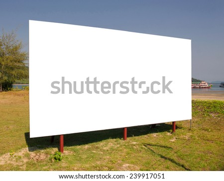 billboard planted on the sea. - stock photo