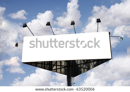 Billboard sign with cloudy sky as a background - stock photo