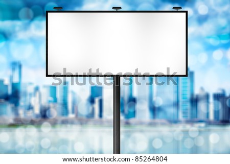 Billboard with Blue City Background - stock photo