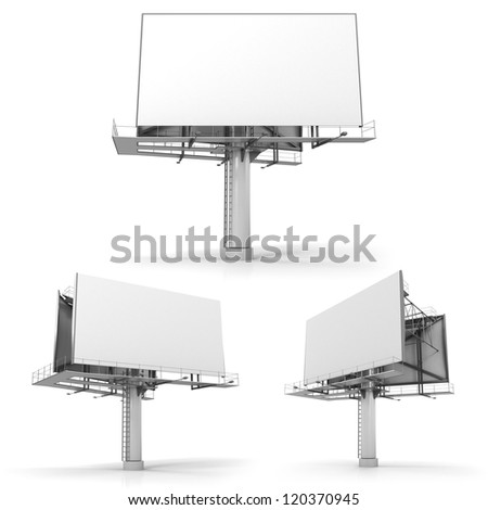 Billboard with copy space, isolated on white - stock photo