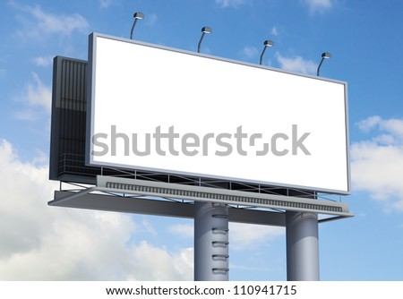 Billboard with empty screen, against blue cloudy sky - stock photo