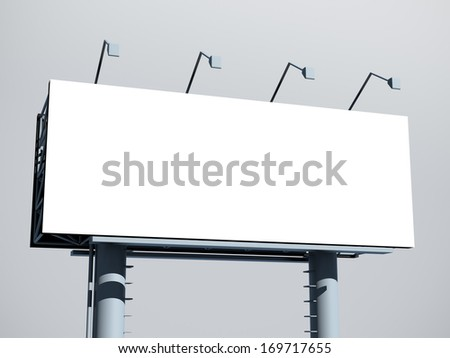 Billboard with empty screen, against gray background - stock photo