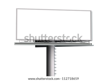 Billboard with empty screen - isolated on white background - stock photo