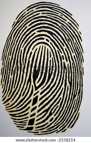 Billboard with fingerprint image - stock photo