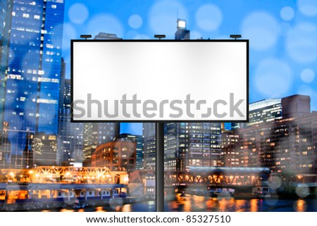 Billboard with Night City Background - stock photo