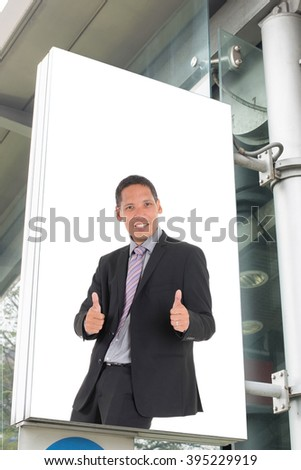 billboard with picture of business man - stock photo