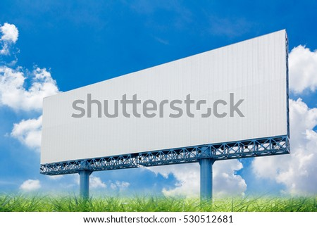 Billboards on a background sky clouds.