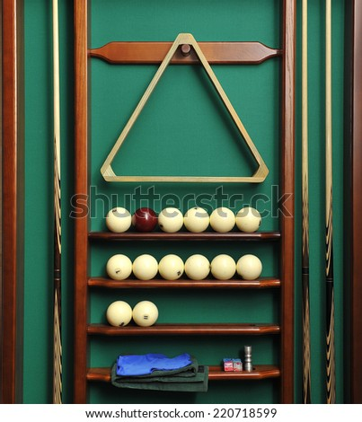 Billiard accessories, background - stock photo