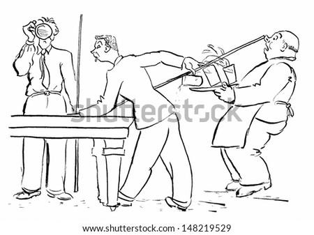billiard accident - stock photo