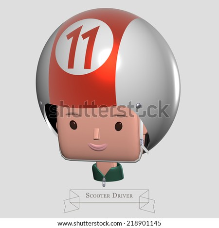Billiard ball driver, face of young man wearing a shiny helmet looking like the eleven billiard ball  - stock photo