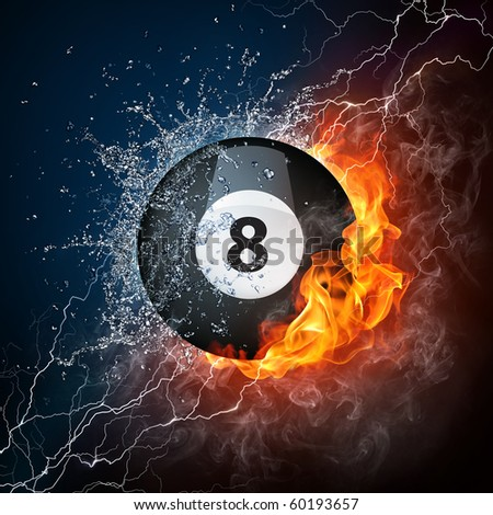 Billiard ball in fire and water. Illustration of the billiard ball enveloped in elements on black background. High resolution billiard ball in fire and water image for a billiard game poster. - stock photo