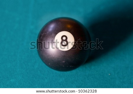 Billiard ball number eight a over green background