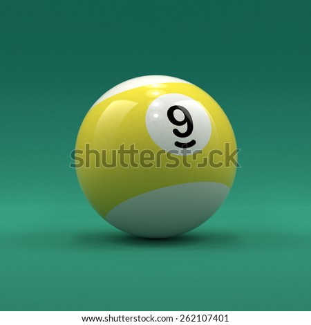 Billiard ball number 9 striped white and yellow color on green table background