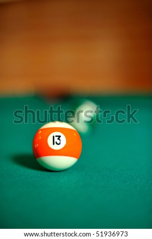 Billiard ball on the table - stock photo