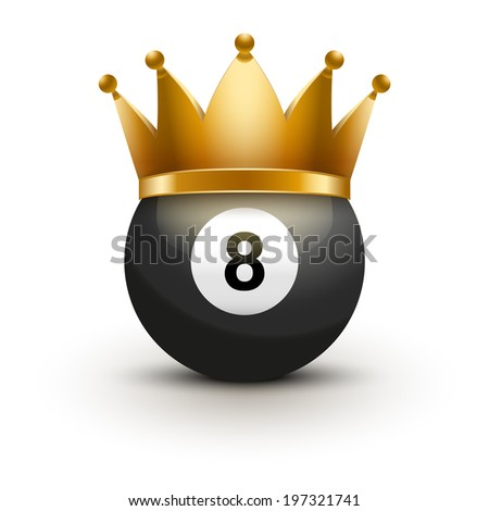 Billiard ball with royal crown. King of sport. Traditional form and color. Isolated on white background. Bitmap copy. - stock photo