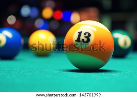 Billiard Balls / A Vintage style photo from a billiard balls in a pool table. Noise added for a film effect - stock photo