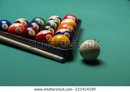 Billiard balls arranged in a triangle;selective focus on  balls ;shallow focus;