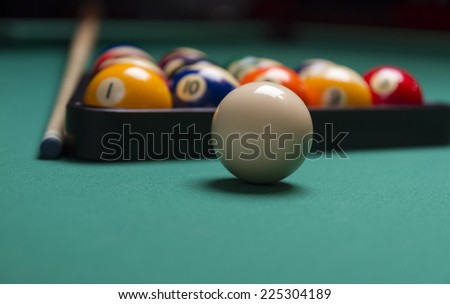 Billiard balls arranged in a triangle;selective focus on cue ball;shallow focus; focus is on the white ball - stock photo