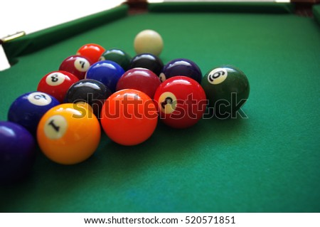 Billiard balls composition on green pool table.