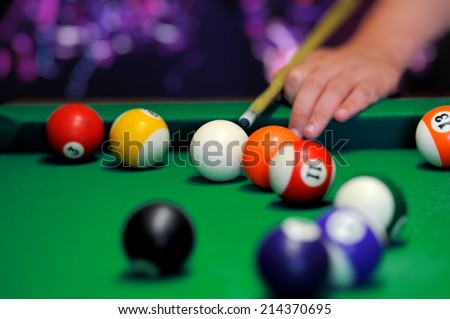 Billiard balls in a green pool table
