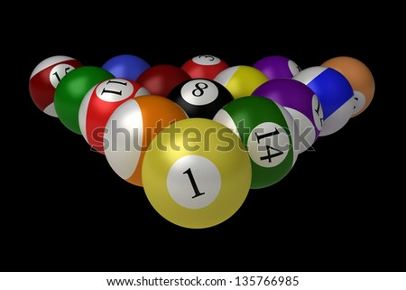 billiard balls isolated on black background