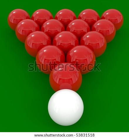 Billiard balls isolated on green - 3d illustration - stock photo