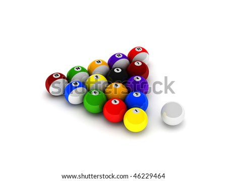 Billiard balls isolated on white background. High quality 3d render. - stock photo
