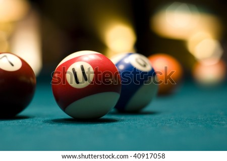 Billiard balls on a pool table