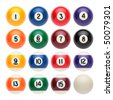 Billiard balls on a white background - stock photo