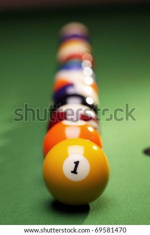 Billiard balls on table - stock photo