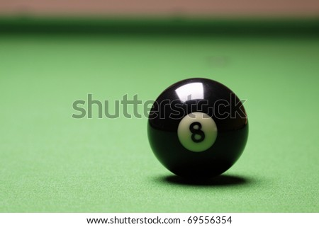 Billiard balls on table, gamins on green table - stock photo