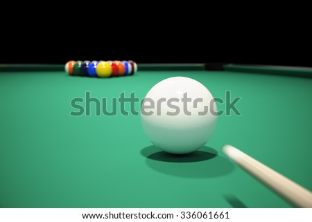 Billiard balls on the green baize of a billiard table. Breaking the rack in pool.Strong shot of cue ball. - stock photo