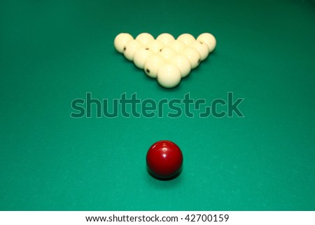 Billiard balls on the green table - stock photo