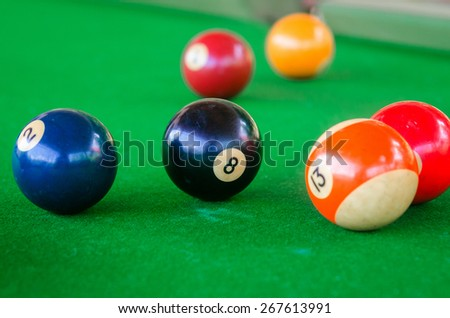 Billiard balls on the table. Focus on the black ball