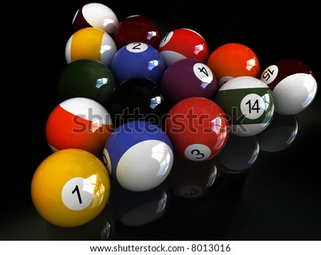 billiard balls. over black mirror   View other images from this series in my portfolio: