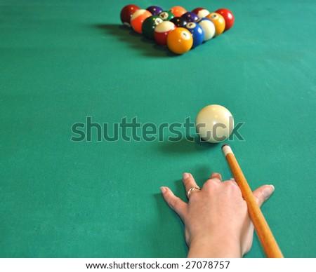 Billiard balls ready to play - stock photo