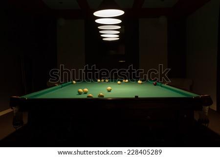 Pool Table Balls Scattered Billiard Room S...
