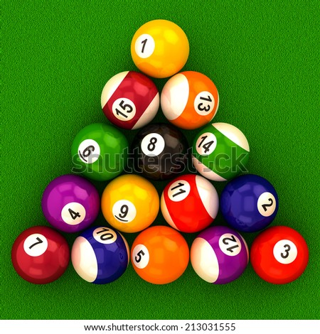 billiard  balls with numbers on a white background