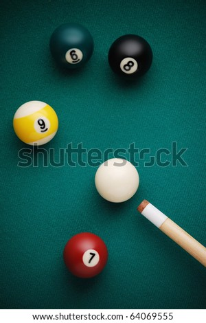 billiard game situation - stock photo