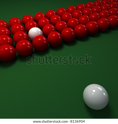 pool game with red and white balls
