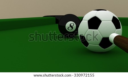 Billiard game with soccer ball