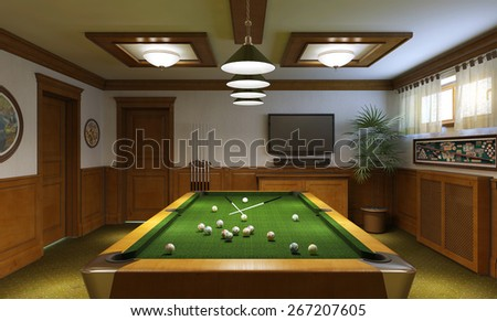 Billiard room classical style, 3d render - stock photo