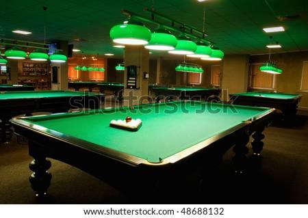 billiard room, interior - stock photo