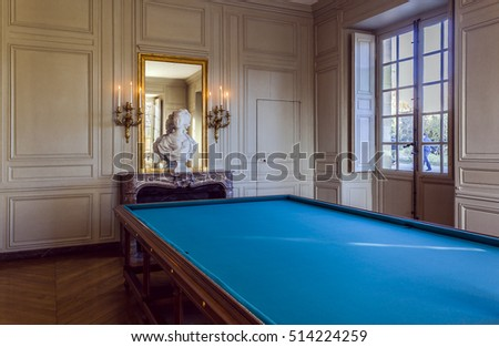 Billiard room, Petit Trianon. FRANCE - November 11, 2016. The Petit Trianon is located in the park of the castle of Versailles, in Yvelines, France.