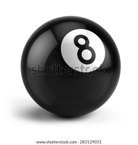 Billiard Snooker eight ball isolated on a white - stock photo