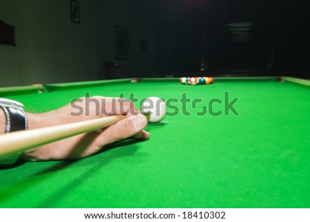 Billiard, starting point of the game with focus on the white ball. - stock photo
